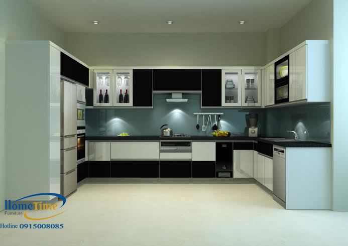 Tủ bếp nhựa chữ U cao cấp nhà chị Thùy Hải Phòng 01
