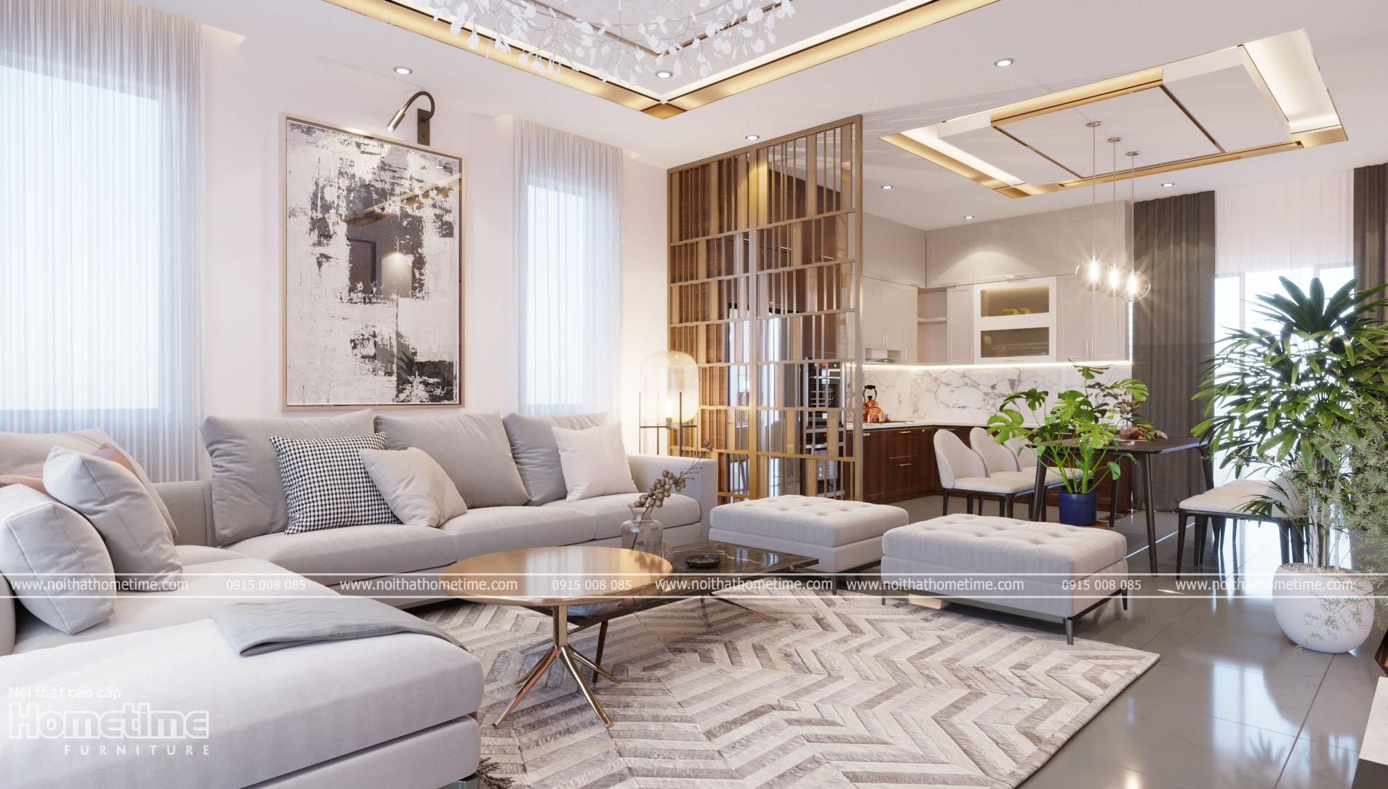 Thiết kế nội thất phòng khách nhà chị Hường, PG An Đồng, Hải Phòng