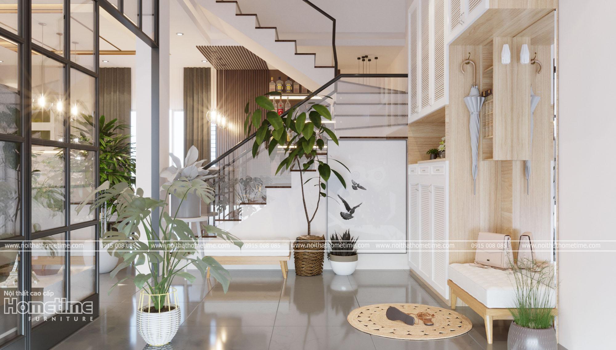 Thiết kế nội thất đẹp - Kệ trang trí kết hợp tủ giày