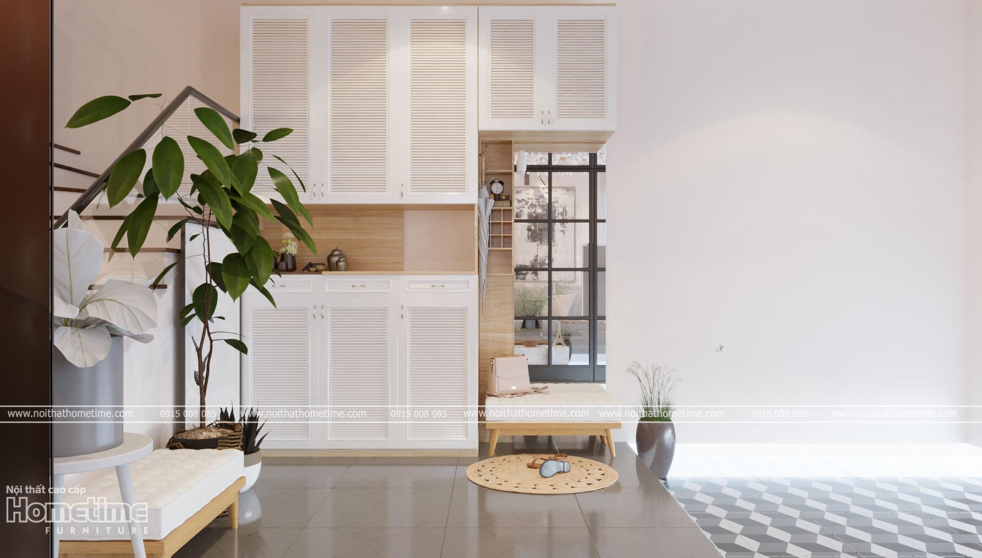 Thiết kế nội thất - Tủ giày cánh chớp hiện đại