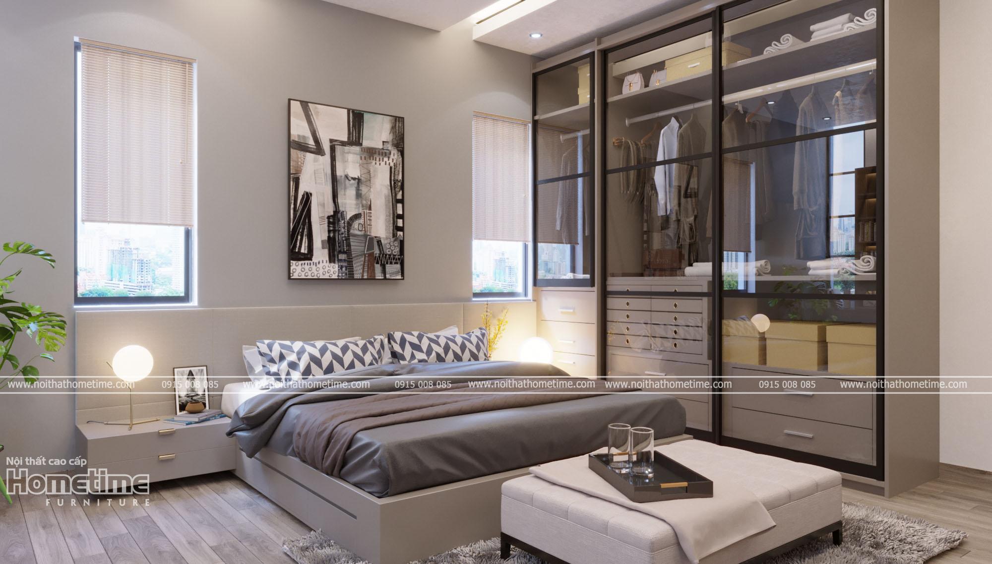 Thiết kế nội thất phòng ngủ hiện đại nhà chị Hưòng - PG An Đồng