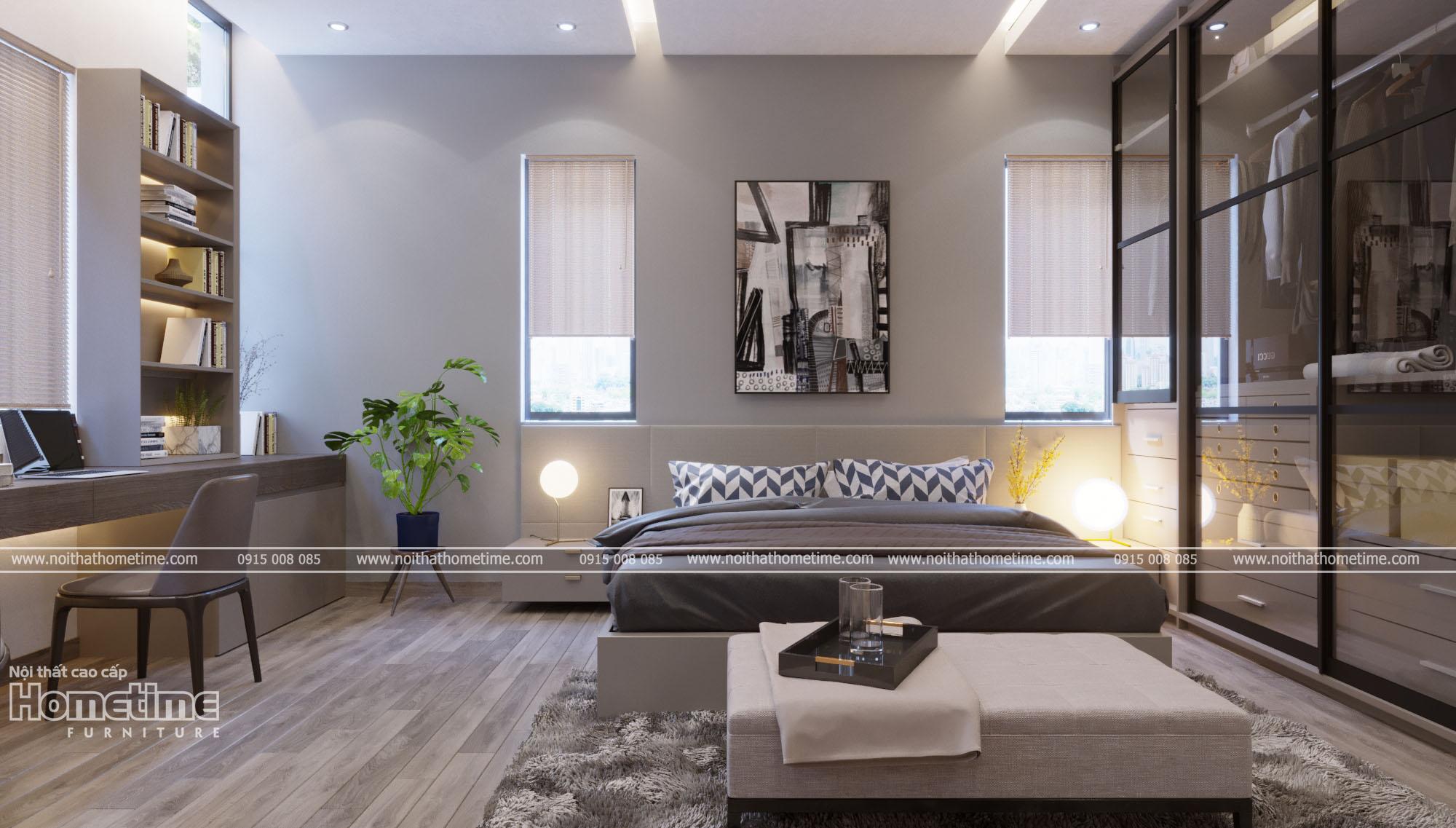 Thiết kế nội thất phòng ngủ - Giường ngủ màu ghi hiện đại