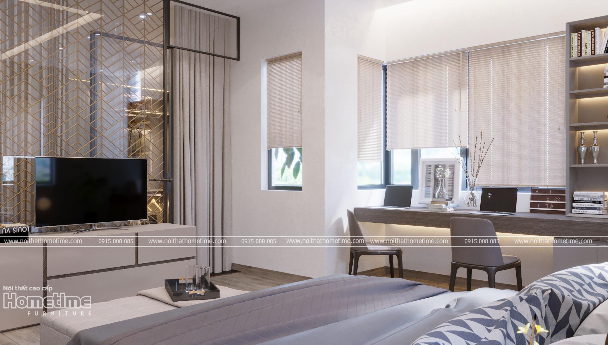 Thiết kế nội thất phòng ngủ - Bàn học, kệ tivi phòng ngủ