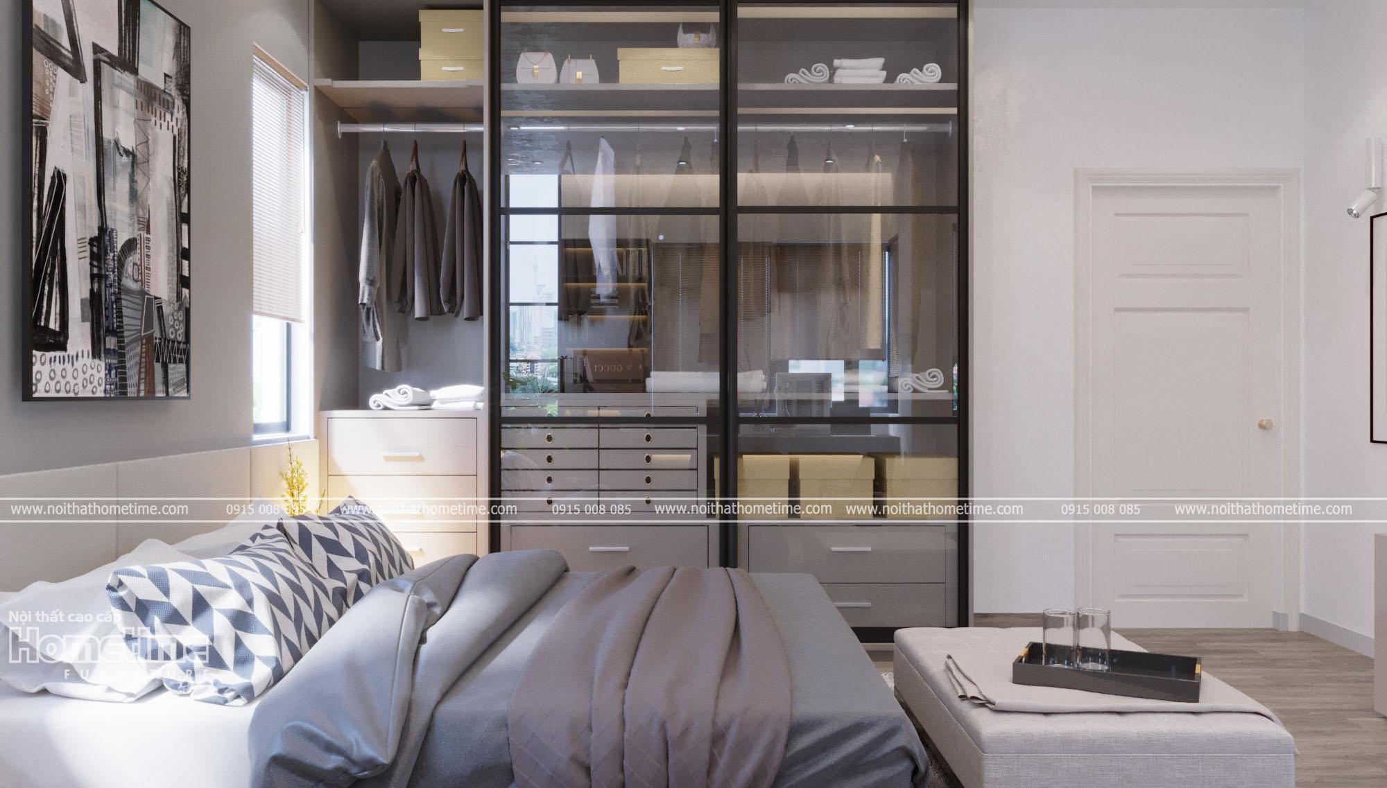Thiết kế nội thất phòng ngủ - Tủ quần áo cánh kính