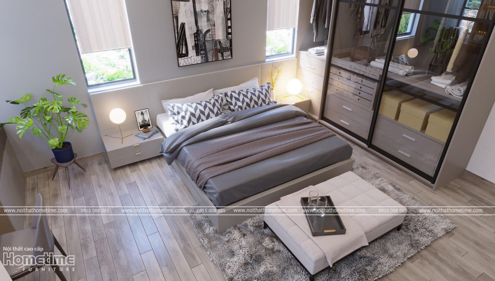 Thiết kế nội thất phòng ngủ - Bộ giường ngủ hiện đại hài hòa với sàn vân gỗ