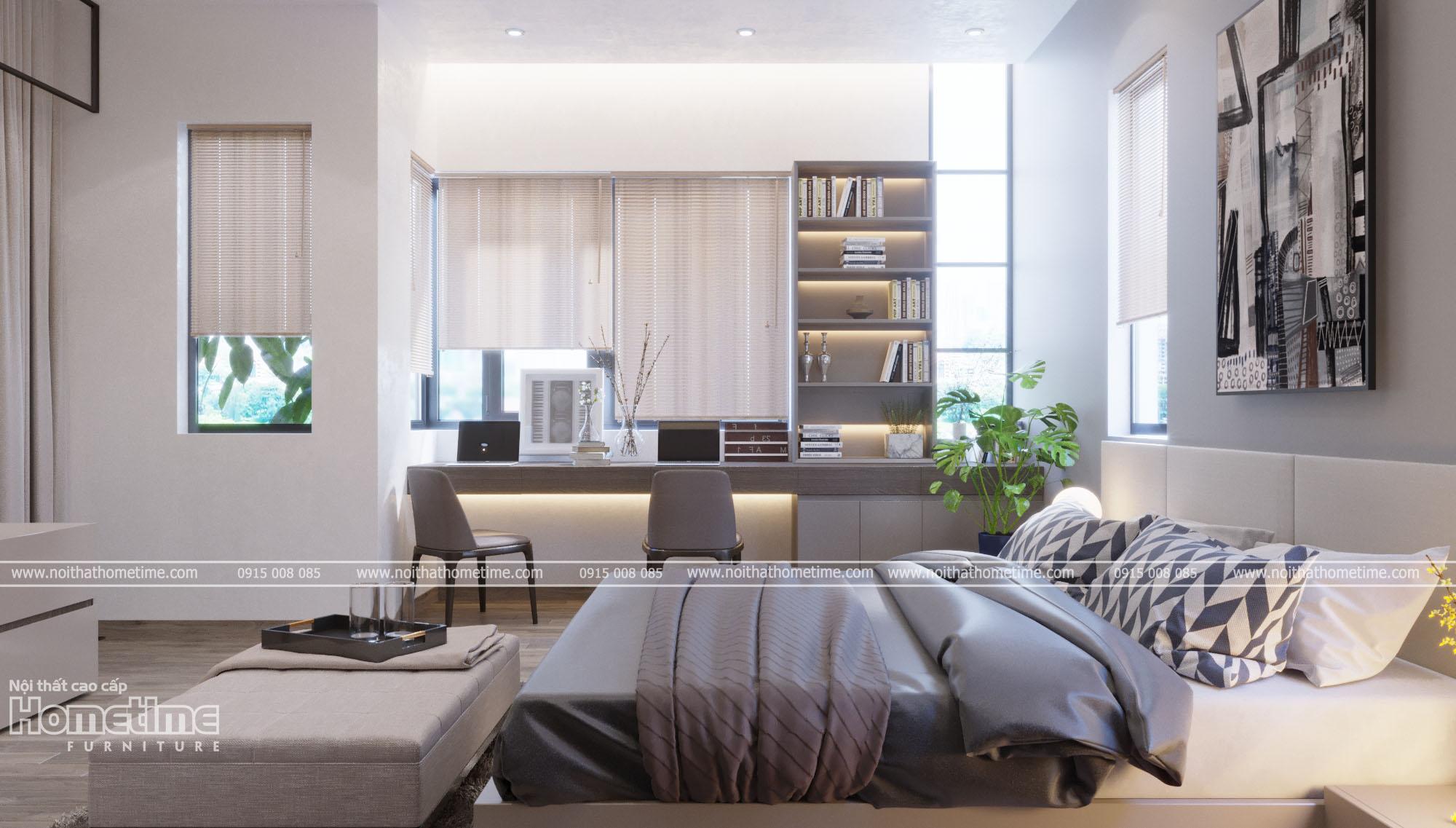 Thiết kế nội thất phòng ngủ - Kệ sách và bàn học đơn giản, hiện đại