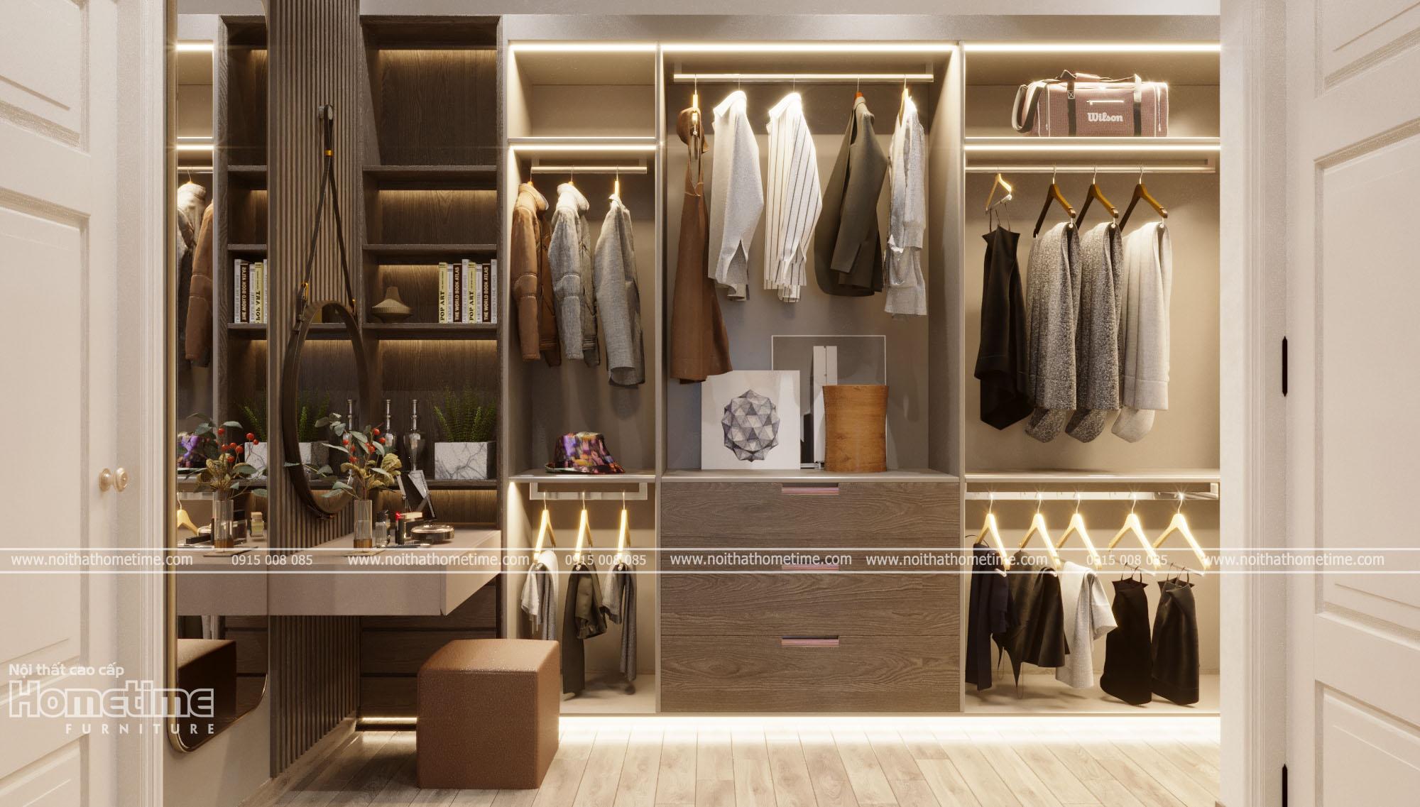 Thiết kế nội thất phòng ngủ - Tủ quần áo màu vân gỗ
