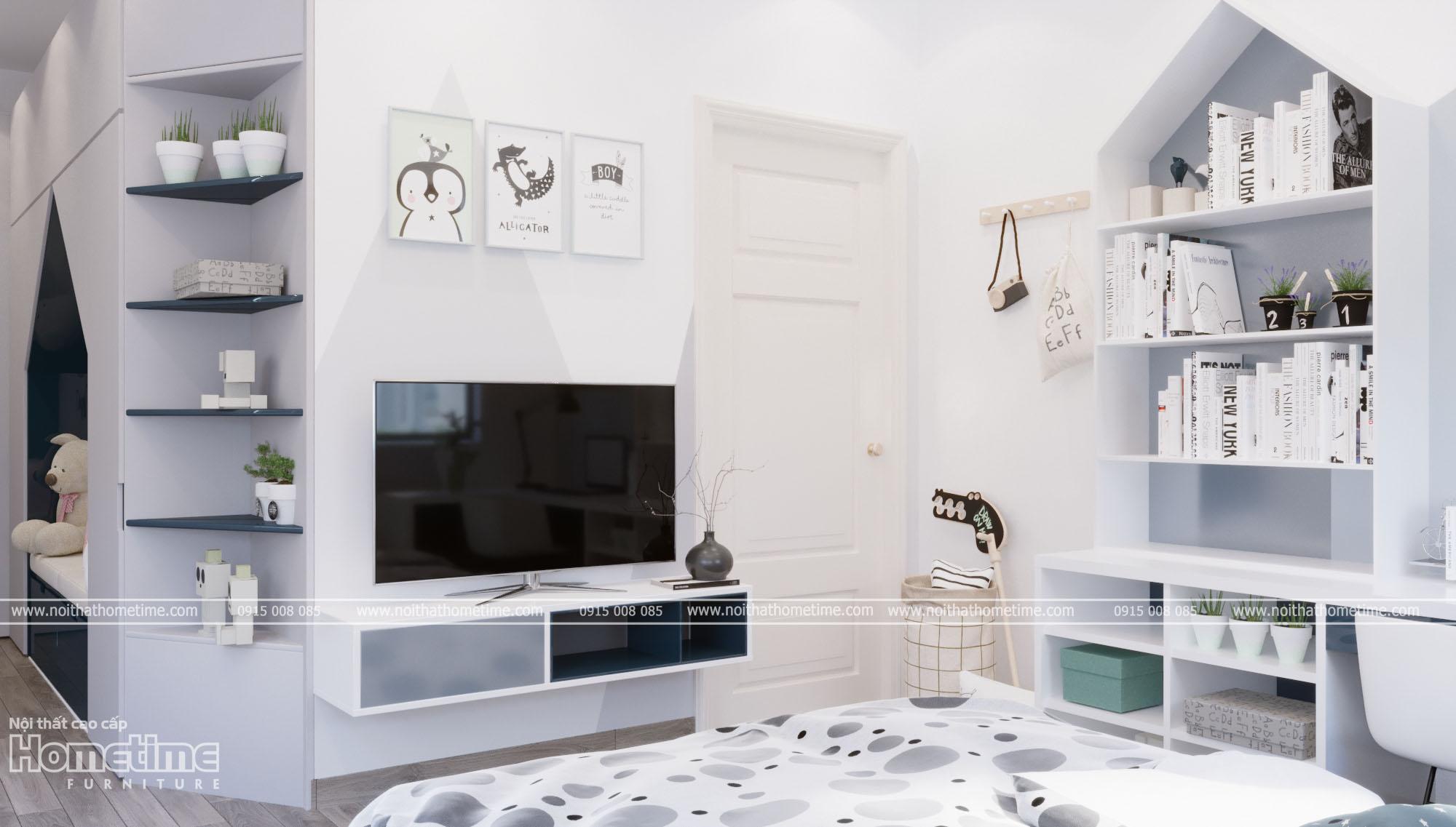 Thiết kế nội thất phòng ngủ bé trai - kệ tivi, kệ sách