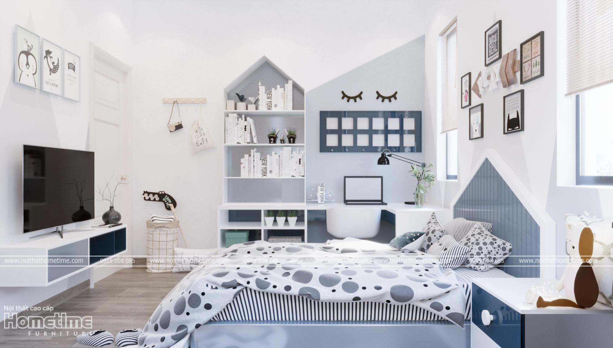 Thiết kế nội thất phòng ngủ - Góc học tập của bé trai