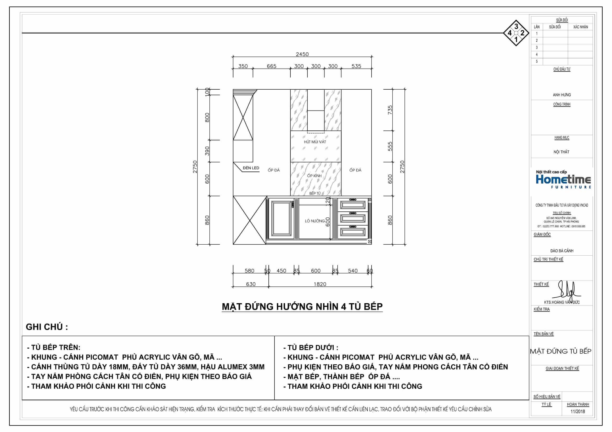 Mặt chiếu đứng bản vẽ 2D tủ bếp nhà anh Hưng Vinhomes imperia Hải Phòng