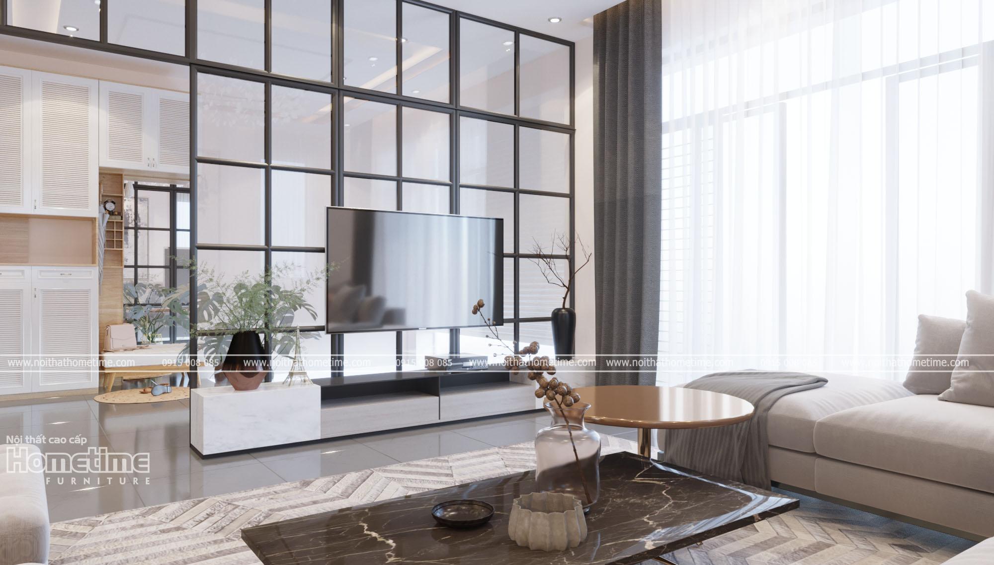 Thiết kế nội thất phòng kháchsang trọng, kiểu dáng đơn giản