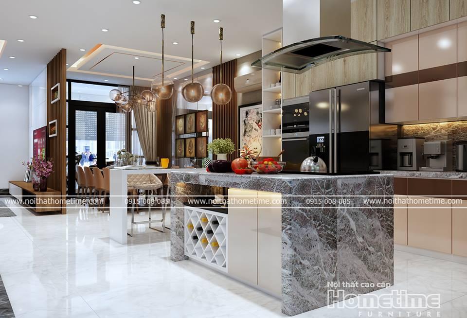 tủ bếp nhựa hiện đại kết hơp không gian phòng ăn
