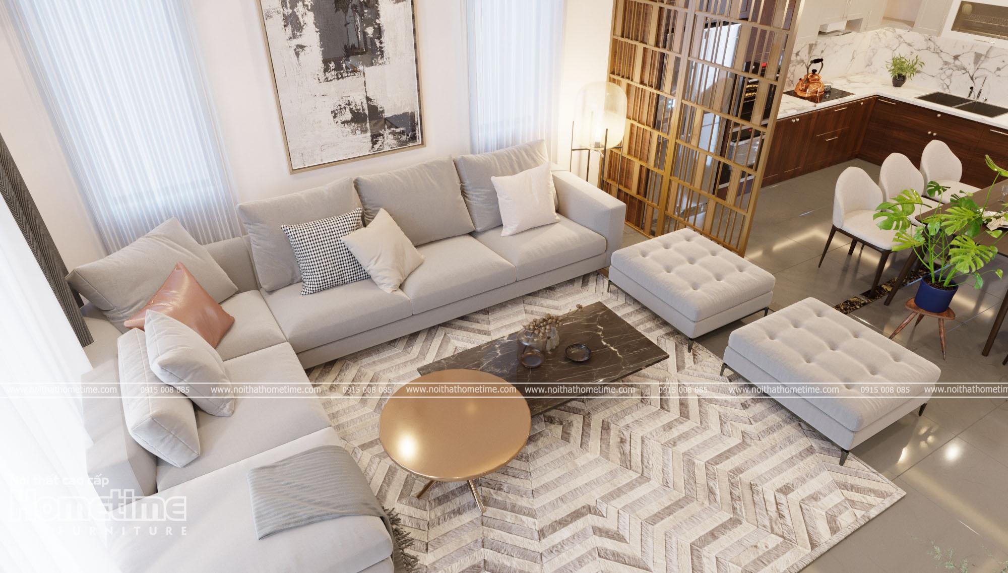 Thiết kế nội thất phòng khách - Bộ sofa nhập khẩu hiện đại
