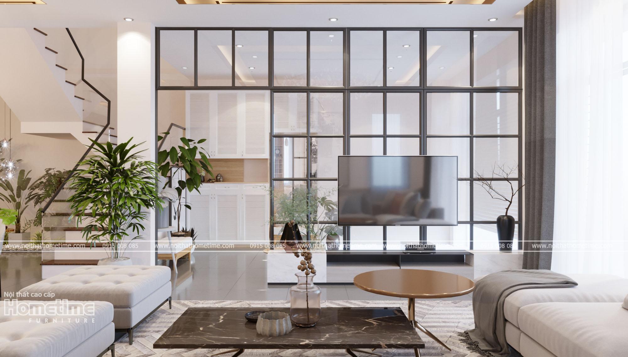 Thiết kế nội thất phòng khách - Vách trang trí, kệ tivi