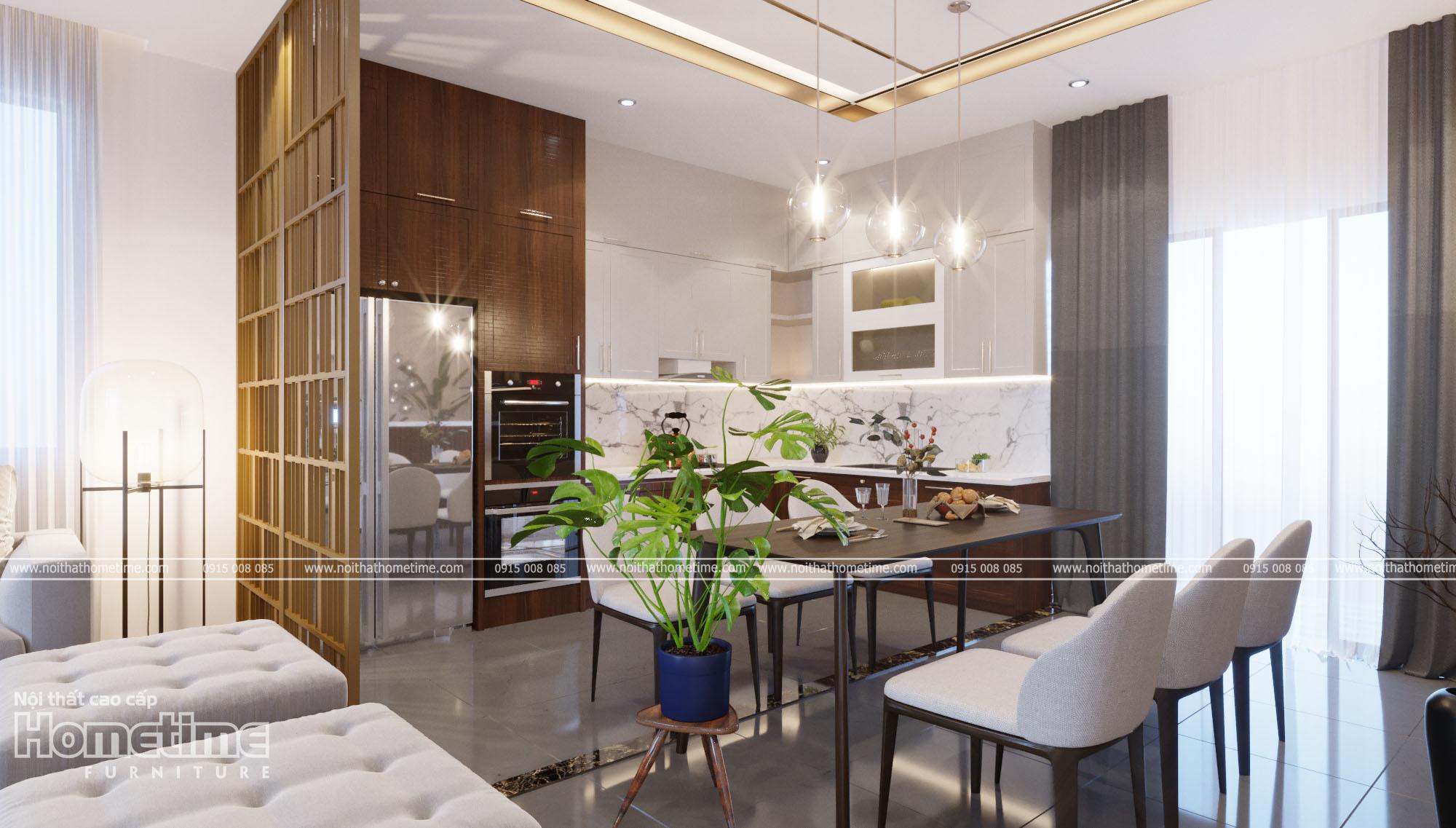 Thiết kế nội thất phòng ăn - Bộ bàn ăn gỗ óc chó hiện đại