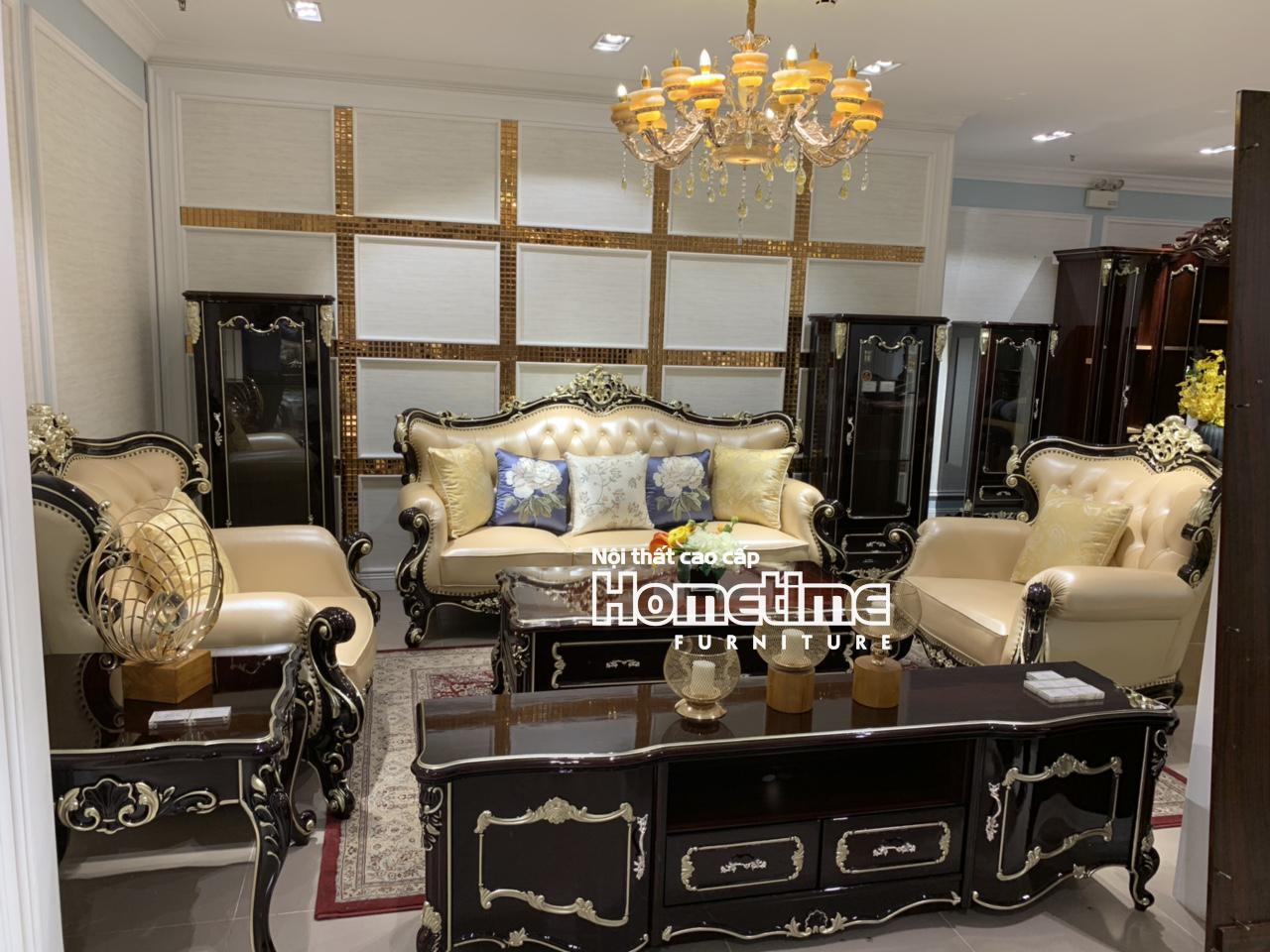 Bộ sofa tân cổ điển màu nâu sang trọng