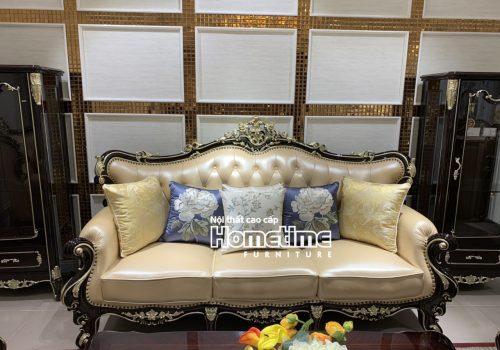 Ghế sofa da tân cổ điển màu nâu