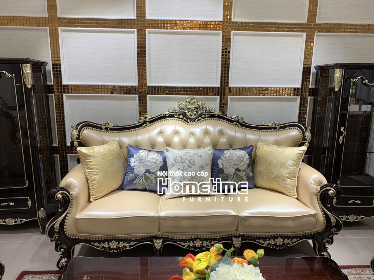 sofa tân cổ điển màu nâu sang trọng quý phái