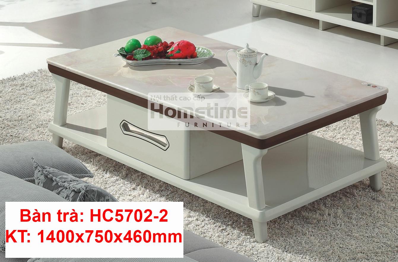 bàn trà màu trắng mặt đá công nghiệp viền nâu