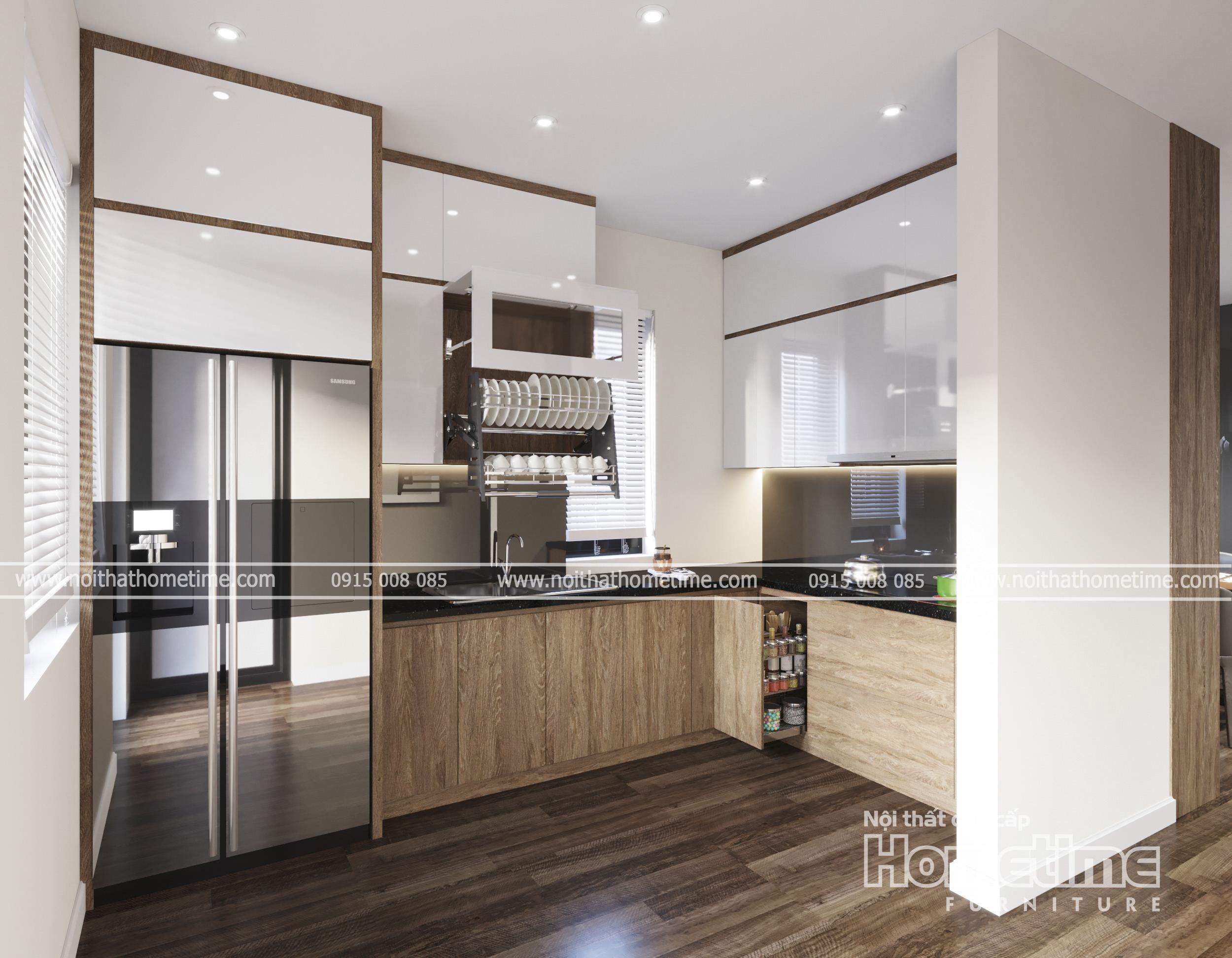 Tủ bếp nhựa hiện đại phủ laminate nhà anh Hiệp Kiến Thụy