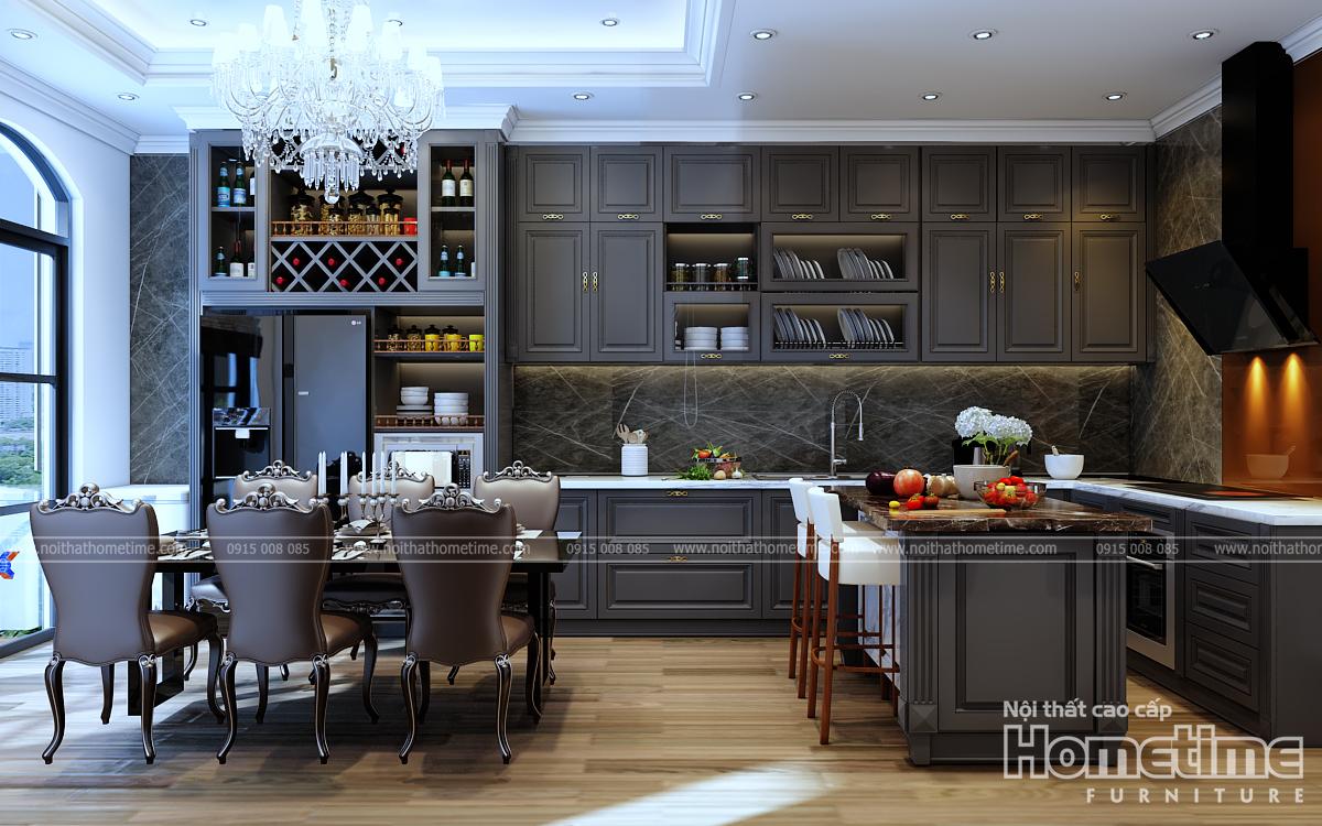 Tủ bếp Tân Cổ Điển kịch trần màu nâu phương án 2