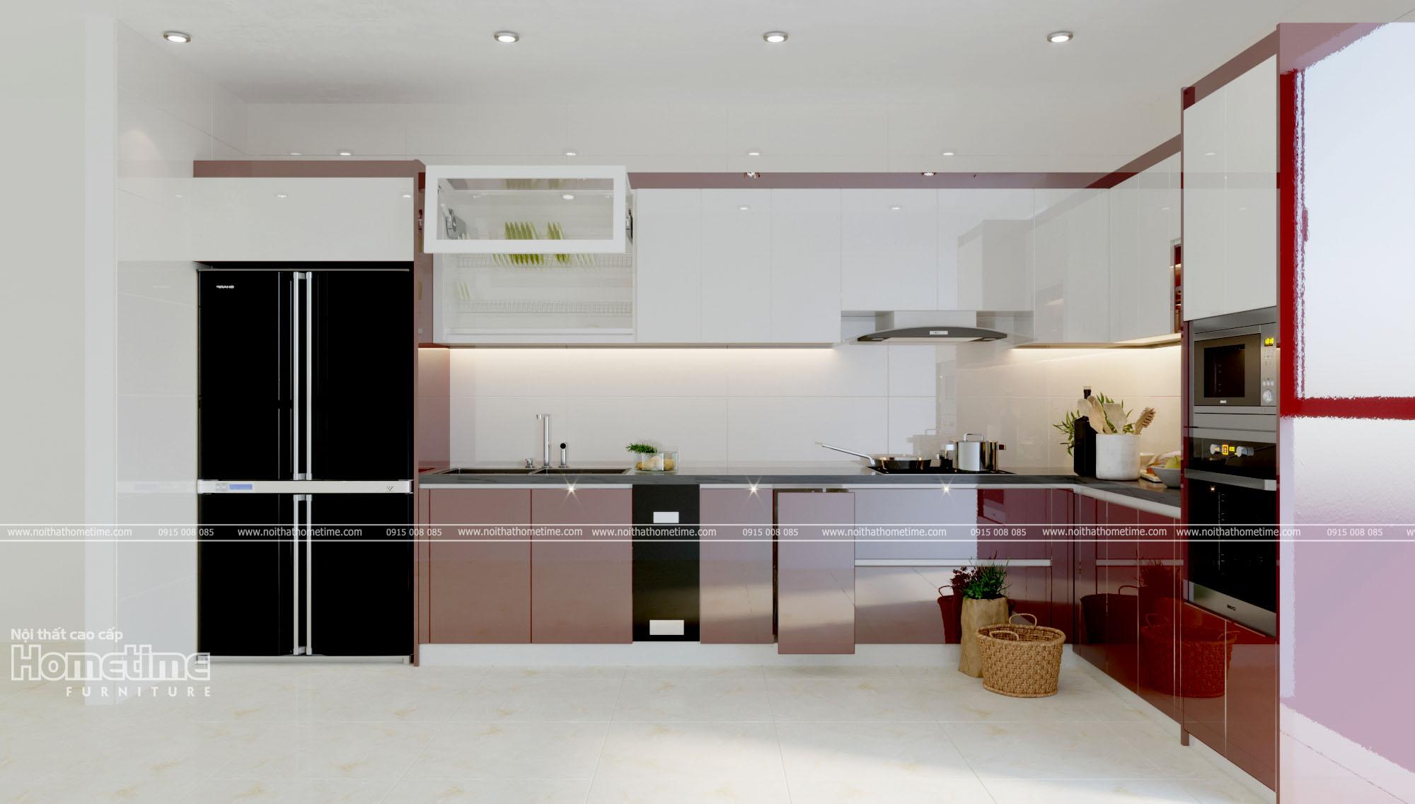Báo giá tủ bếp nhựa phủ acrylic màu trắng viền đỏ nhà anh Thế Hồ Sen
