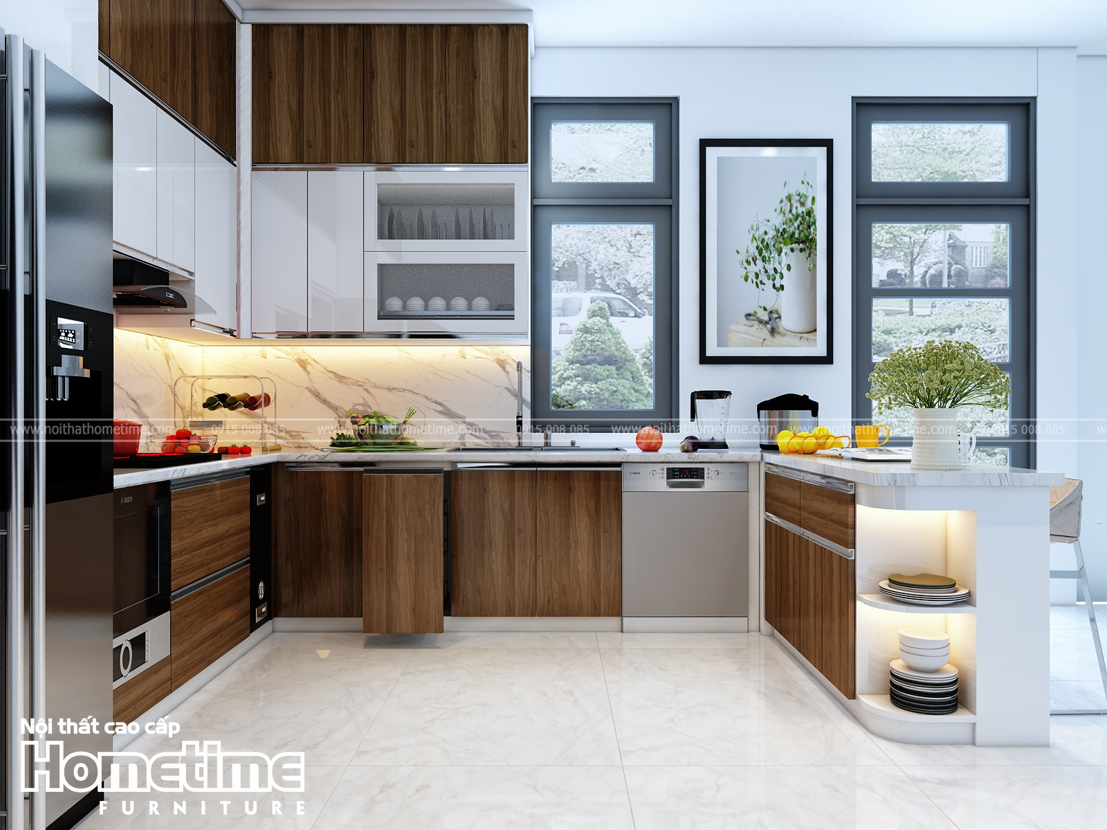 Thiết kế các mẫu tủ bếp chữ U đẹp phủ laminate kết hợp sơn men cao cấp