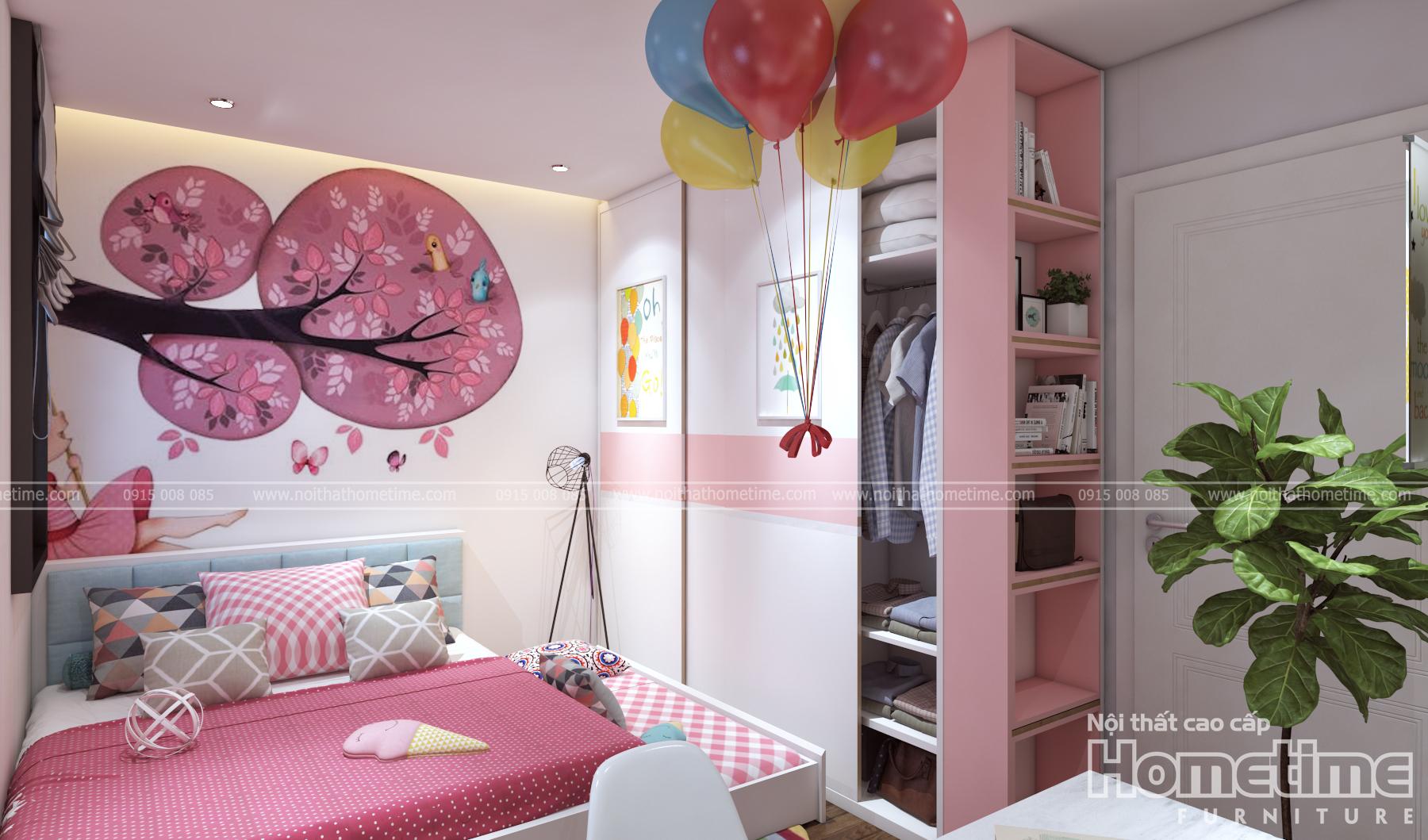 Mẫu thiết kế nội thất phòng ngủ con tông hồng