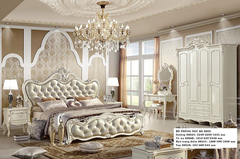 giường tân cổ điển cao cấp Hải Phòng 8802 màu kem