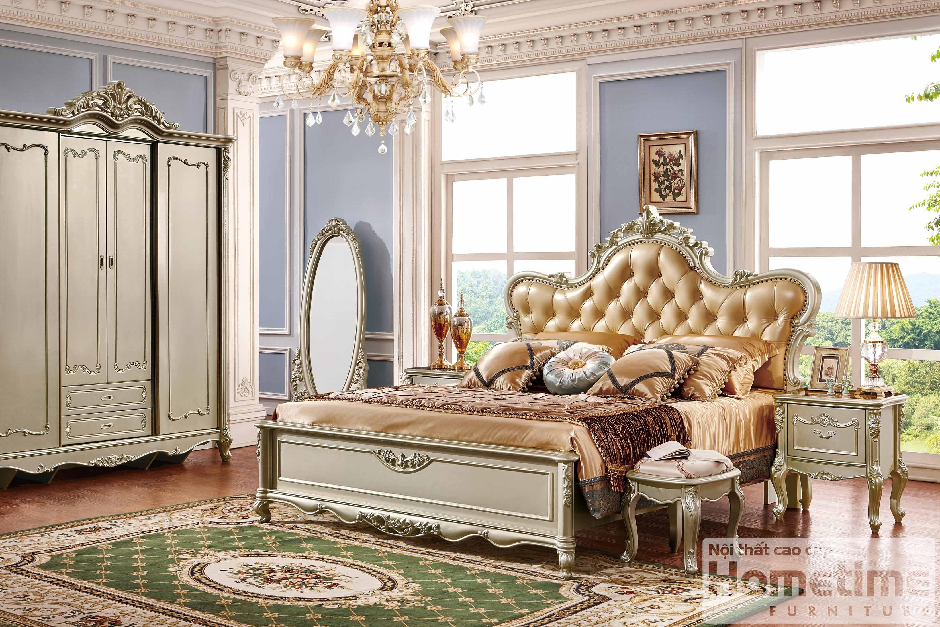 Mẫu giường tân cổ điển HT8835