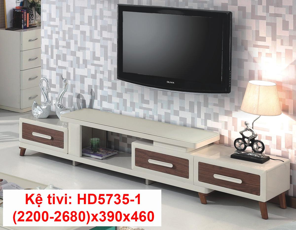 Kệ tivi đa năng màu trắng mặt kính đẹp HC57351