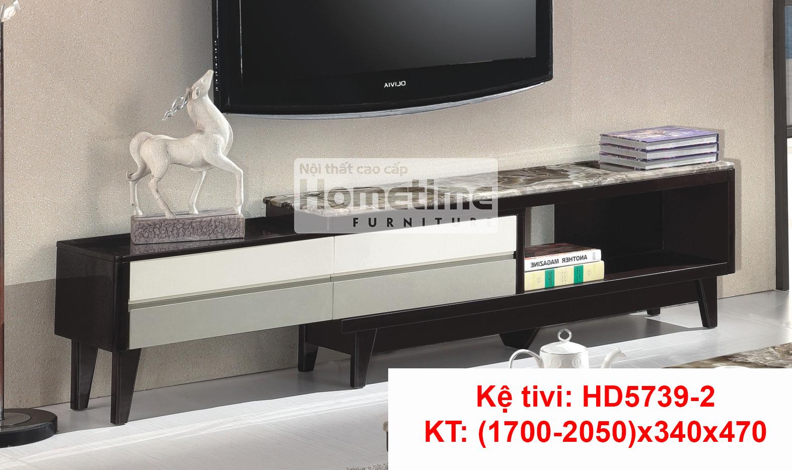 Kệ tivi đa năng HD57392 mặt đá công nghiệp 2 ngăn kéo
