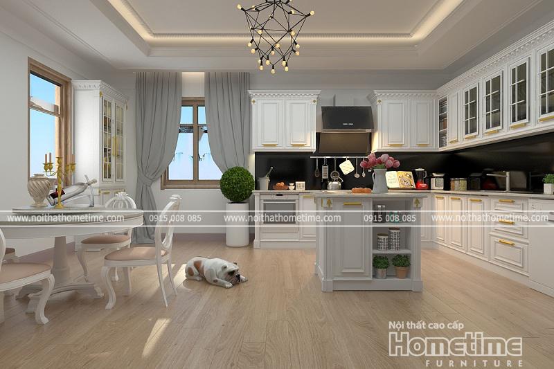 Thiết kế mẫu tủ bếp tân cổ điển màu trắng tinh tế nhẹ nhàng