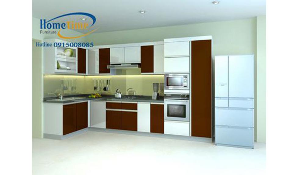 Hình ảnh mẫu tủ bếp nhựa chữ L nhà anh Khánh TN09