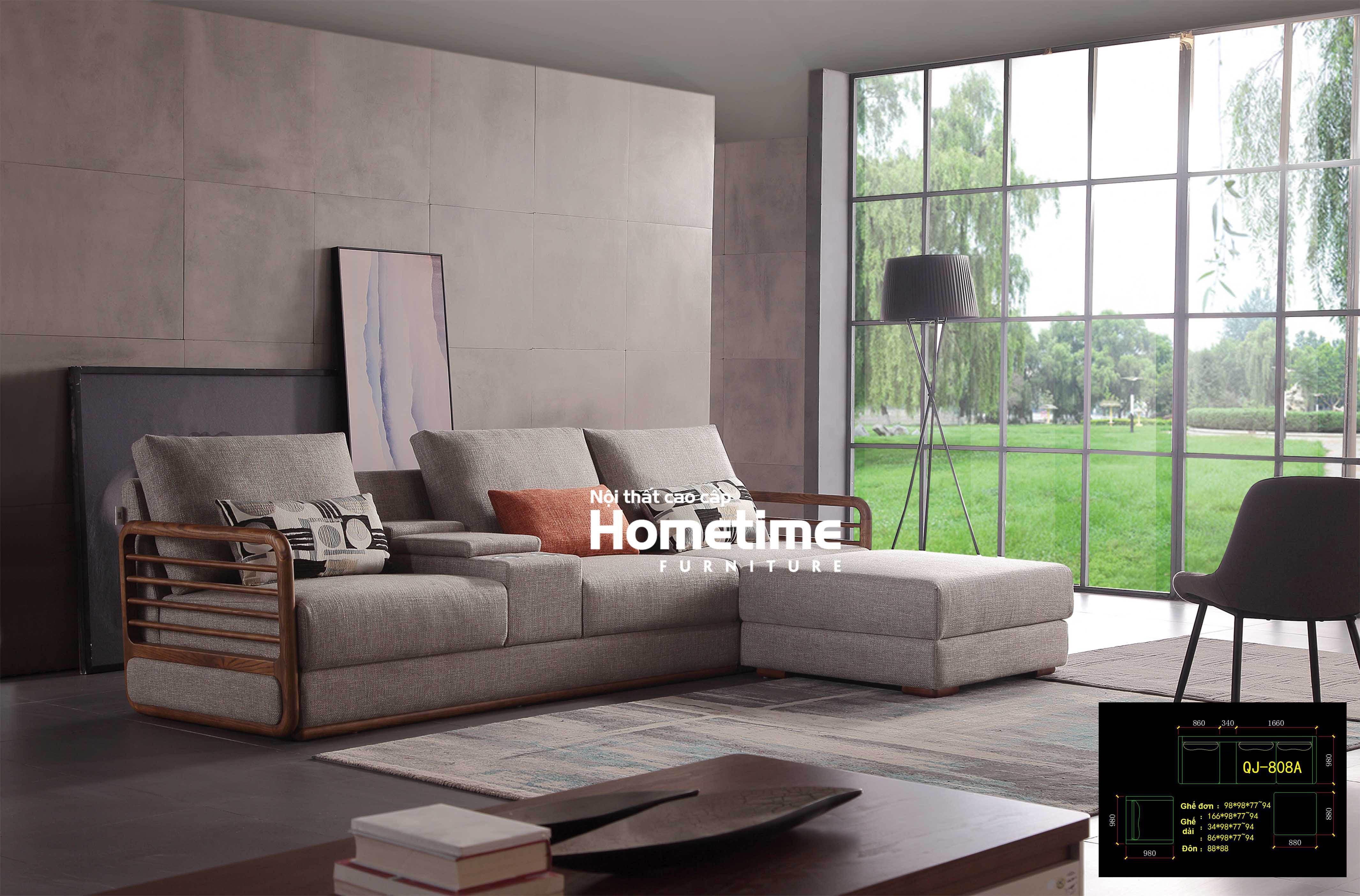 Sofa nỉ khung gỗ tự nhiên QJ808A