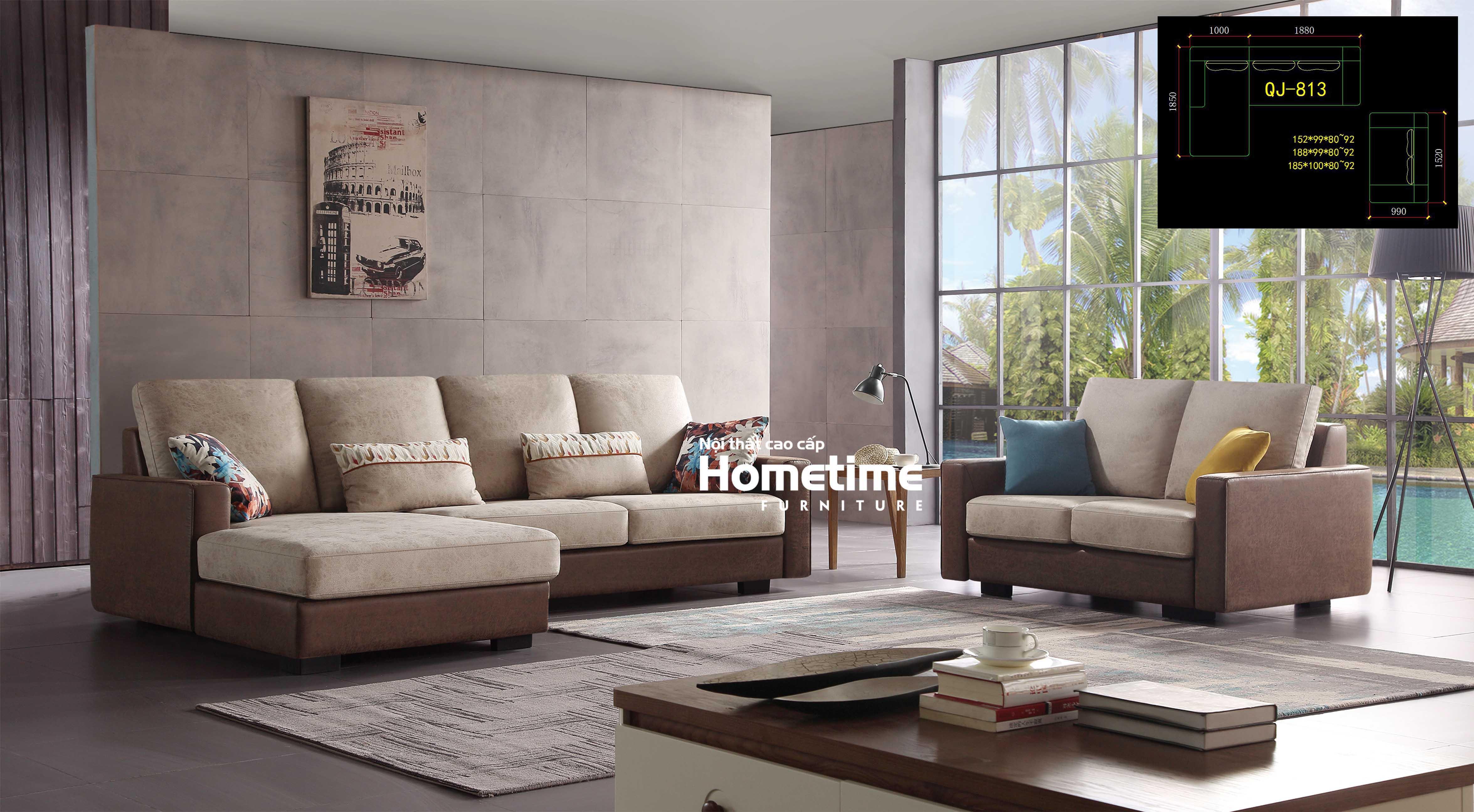 Bộ sofa nỉ hiện đại QJ813