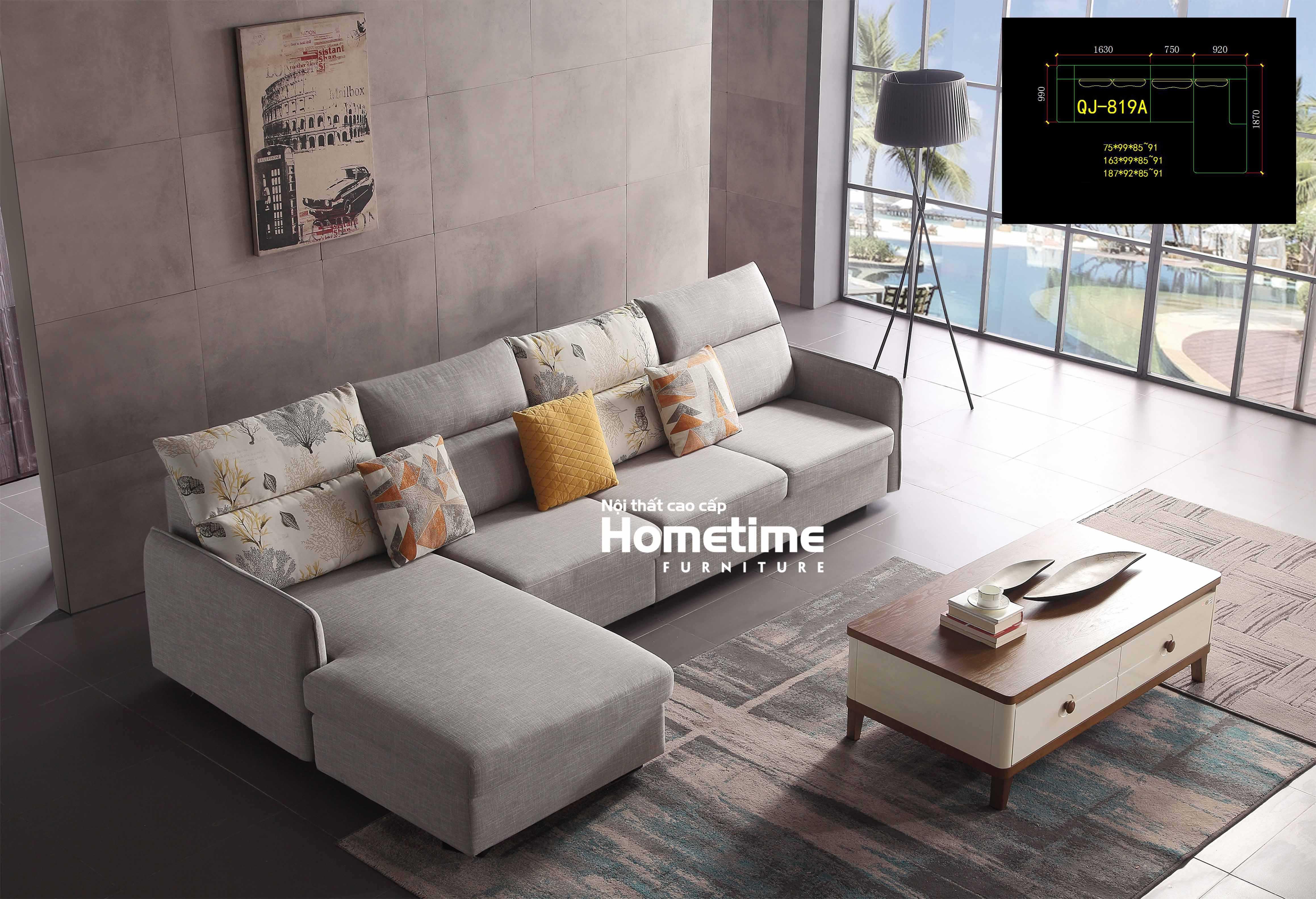 Sofa nỉ màu ghi nhập khẩu QJ819A