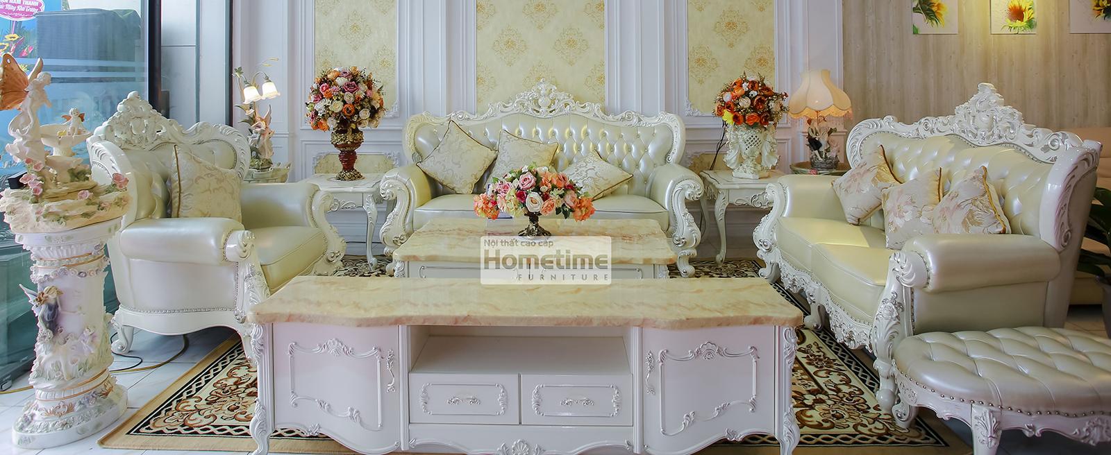 bộ sofa tân cổ điển màu trắng 931 tại Hải Phòng