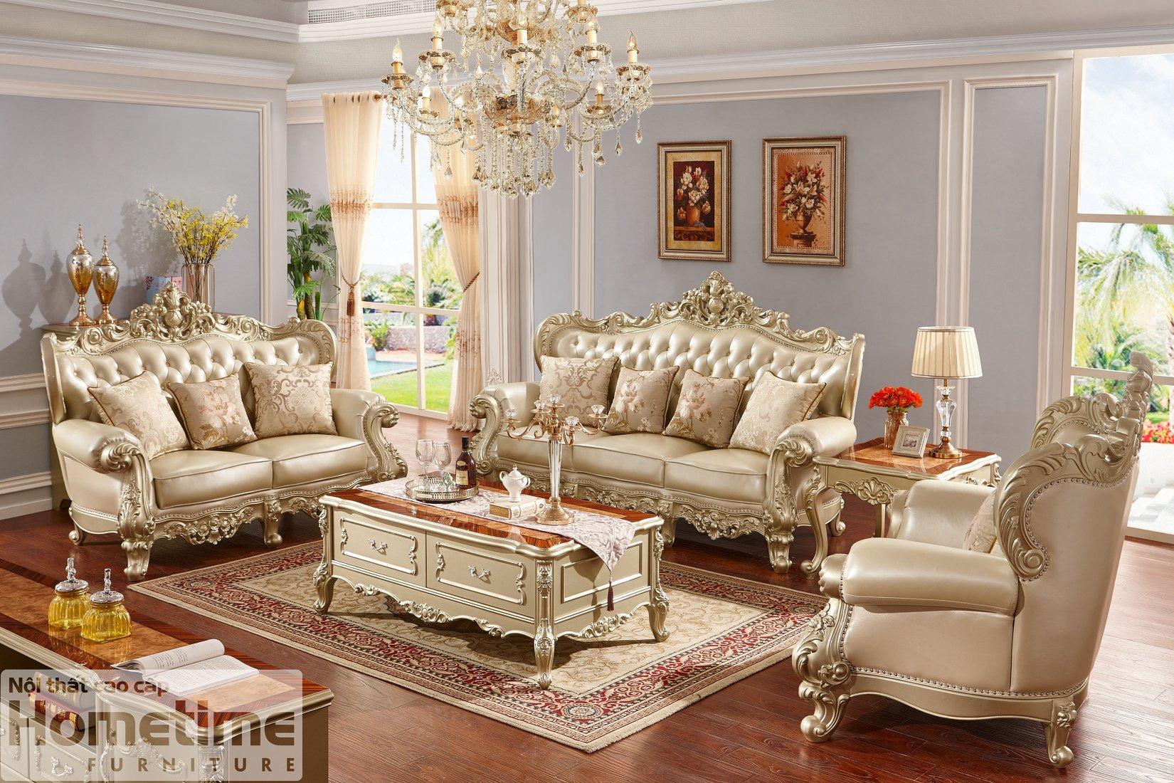 Bộ sofa tân cổ điển màu đồng 931MD