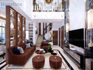 thiết kế nội thất phòng khách nhà chú Khanh biệt thự Vinhomes imperia Hải Phòng
