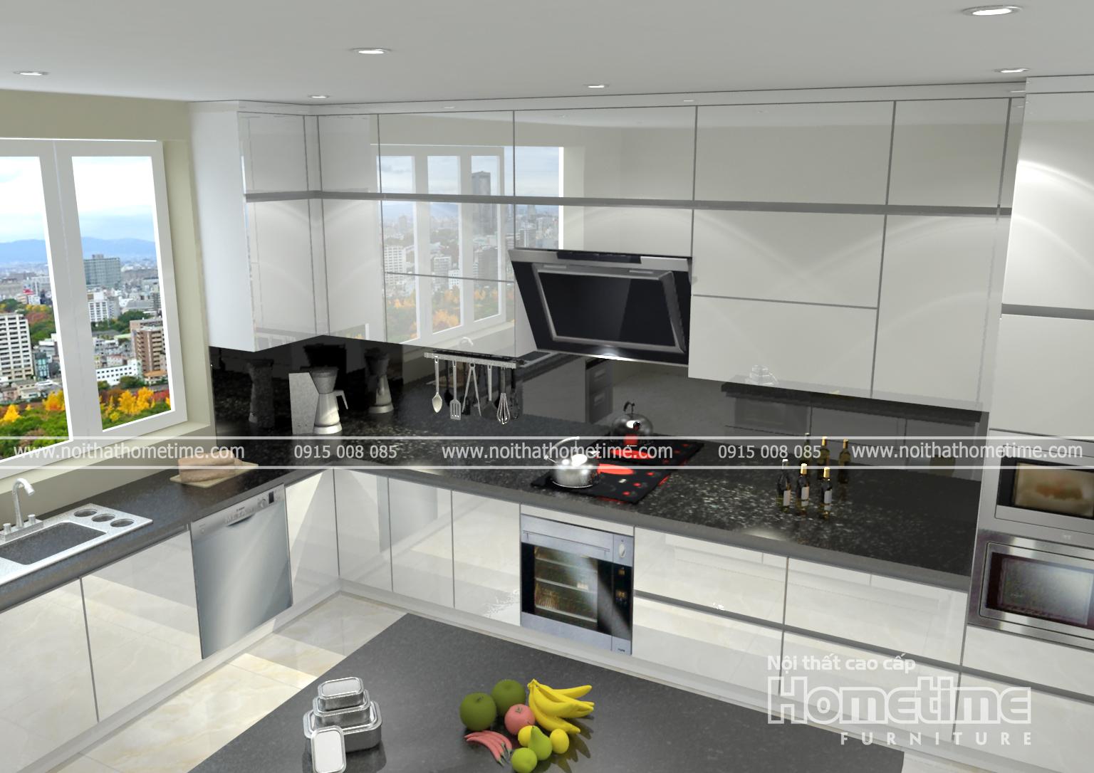 tủ bếp nhựa acrylic bóng gương màu trắng
