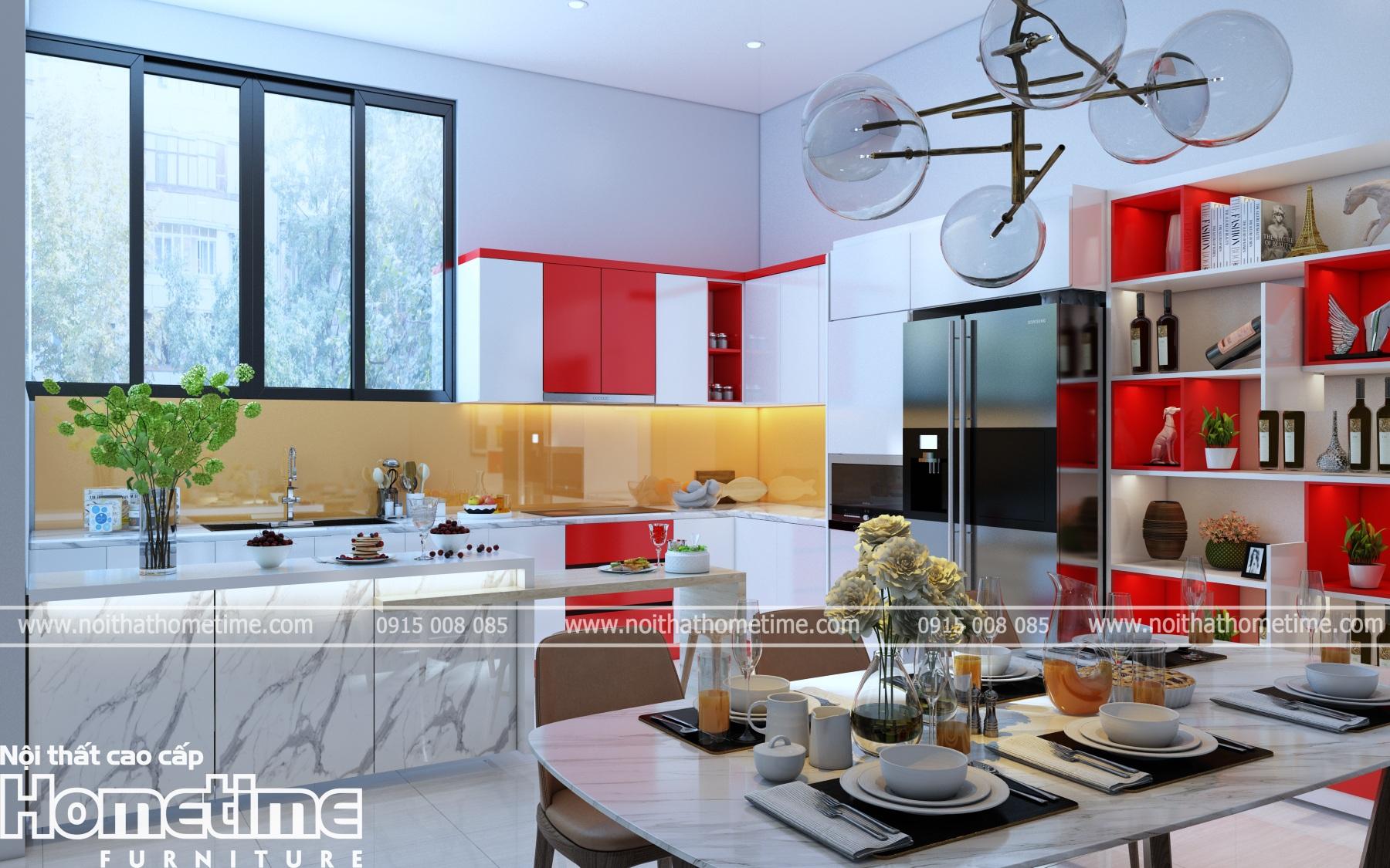 Tủ bếp nhựa đẹp tông màu đỏ cá tính