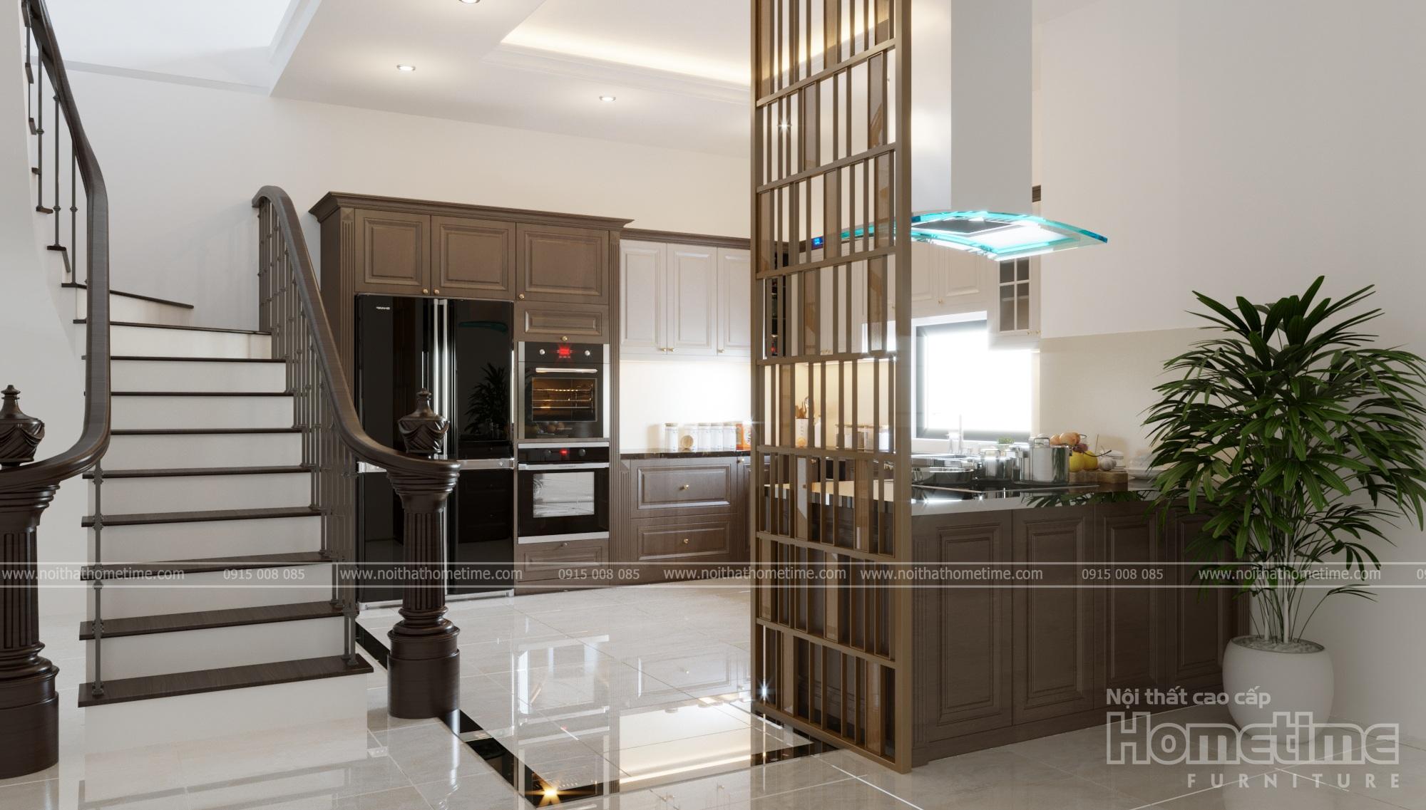 mẫu thiết kế tủ bếp phong cách tân cổ điển nhà chú Vĩnh 001