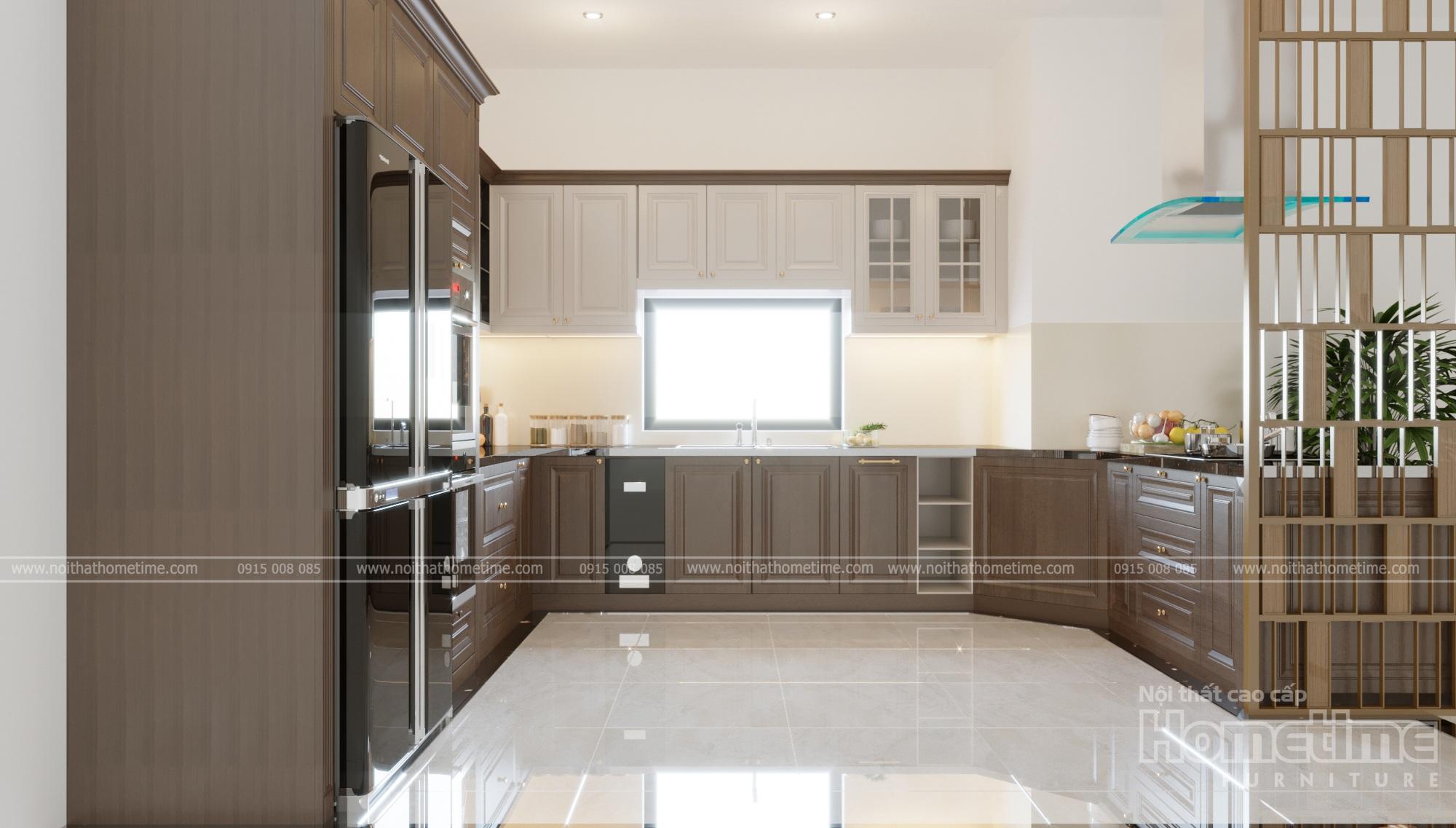 mẫu thiết kế tủ bếp phong cách tân cổ điển nhà chú Vĩnh 002