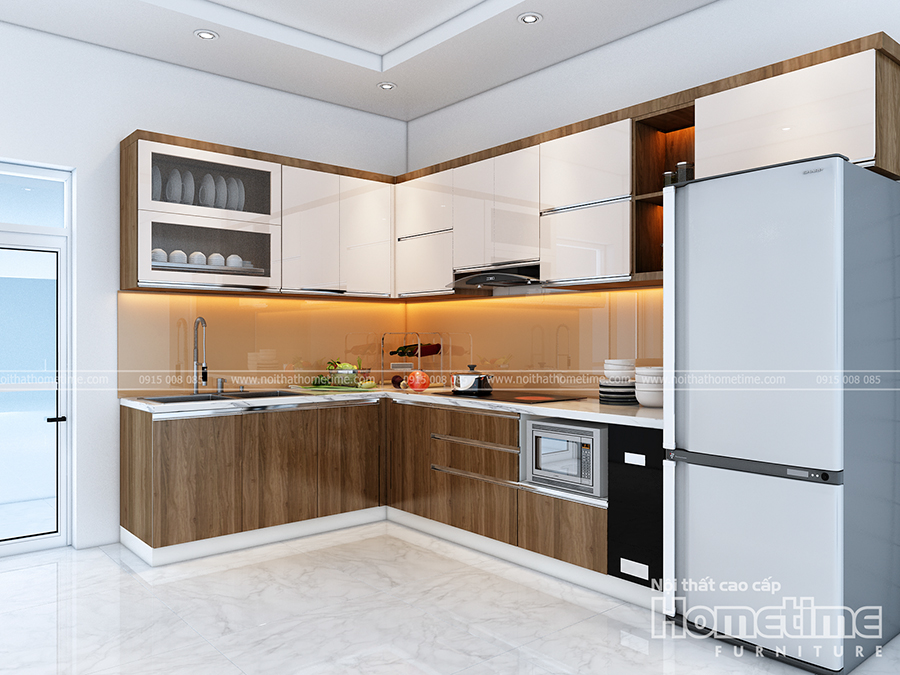 Thiết kế tủ bếp đẹp Hải Phòng nhà anh Trung Thiên Lôi