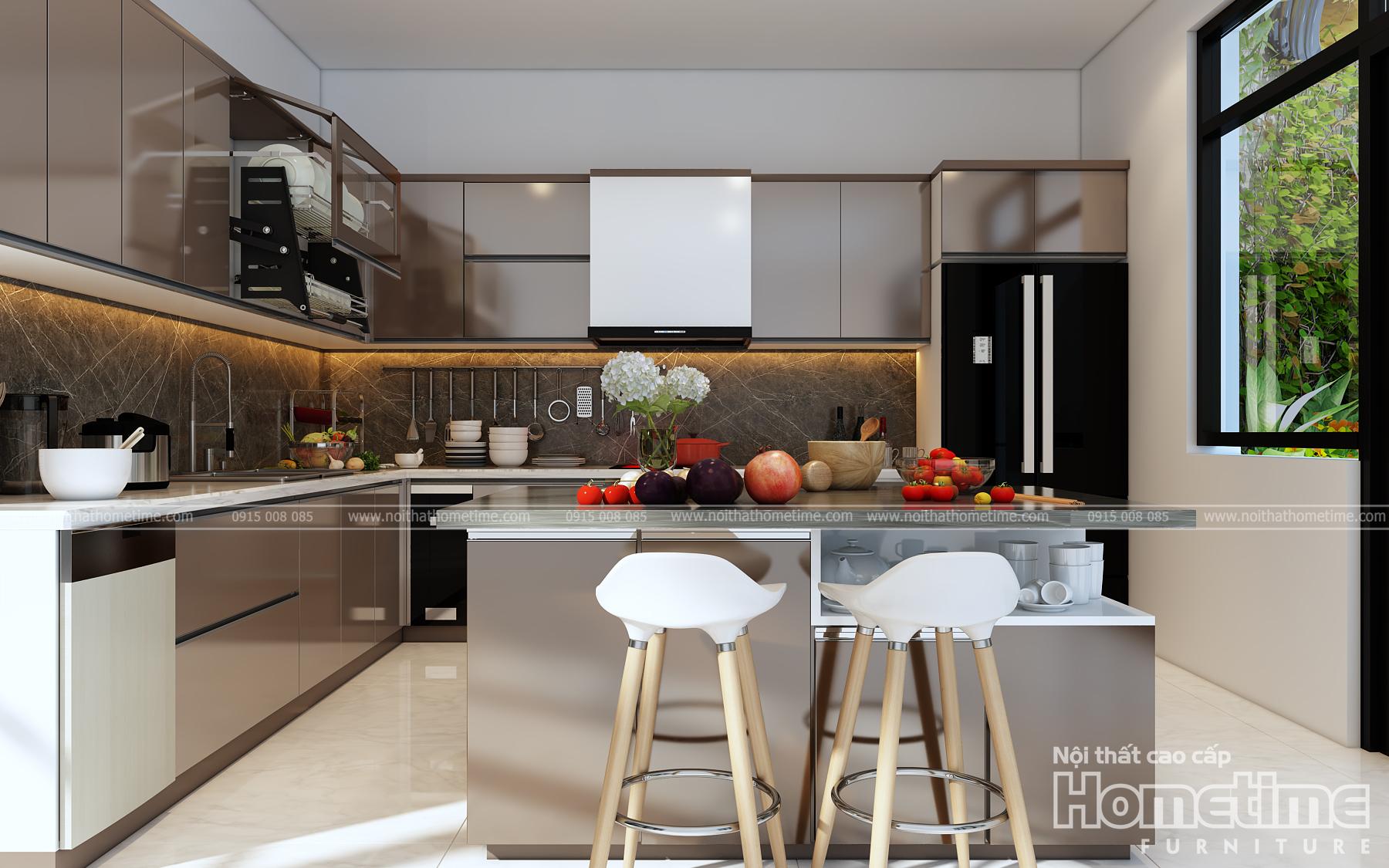 Thiết kế tủ bếp nhựa picomat Hải Phòng hiện đại TN002