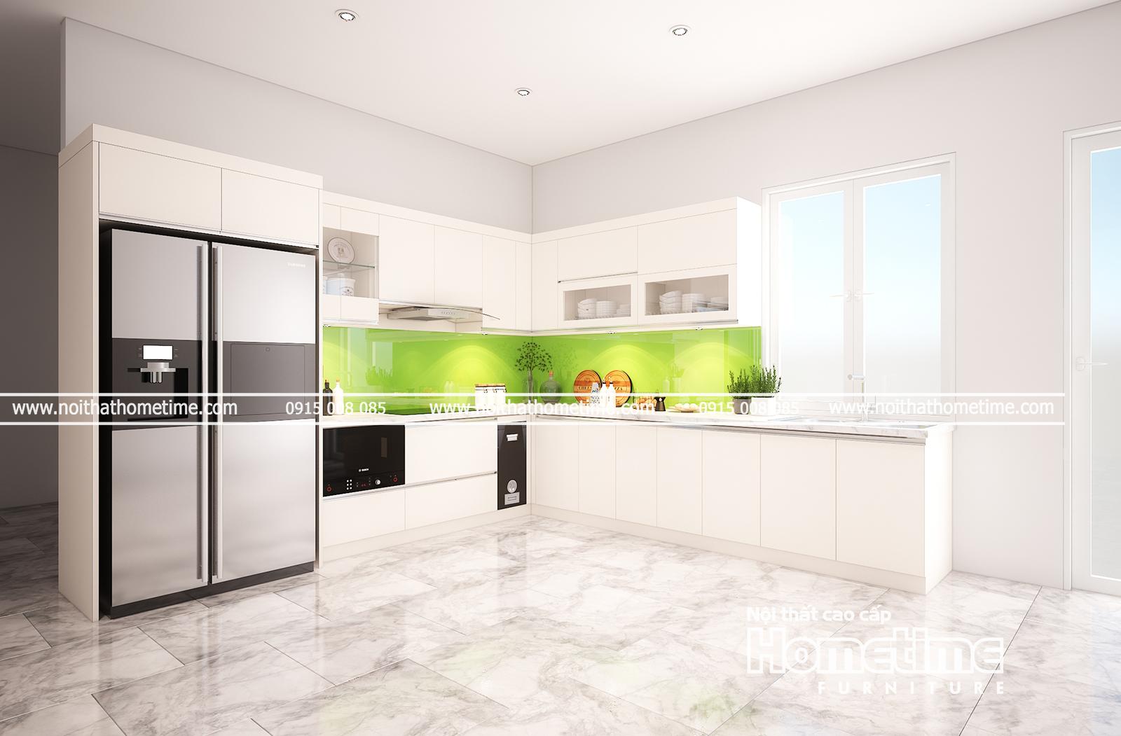 Tủ bếp nhựa picomat với ô cửa rộng