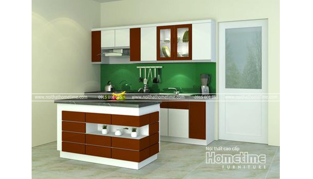 Thiết kế tủ bếp nhựa màu nâu trắng uy tín tại Hải Phòng TN19