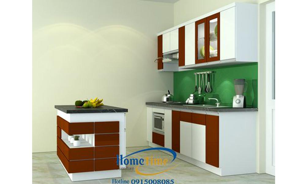 Bàn đảo tủ bếp nhựa phủ laminate màu gỗ nâu TN19