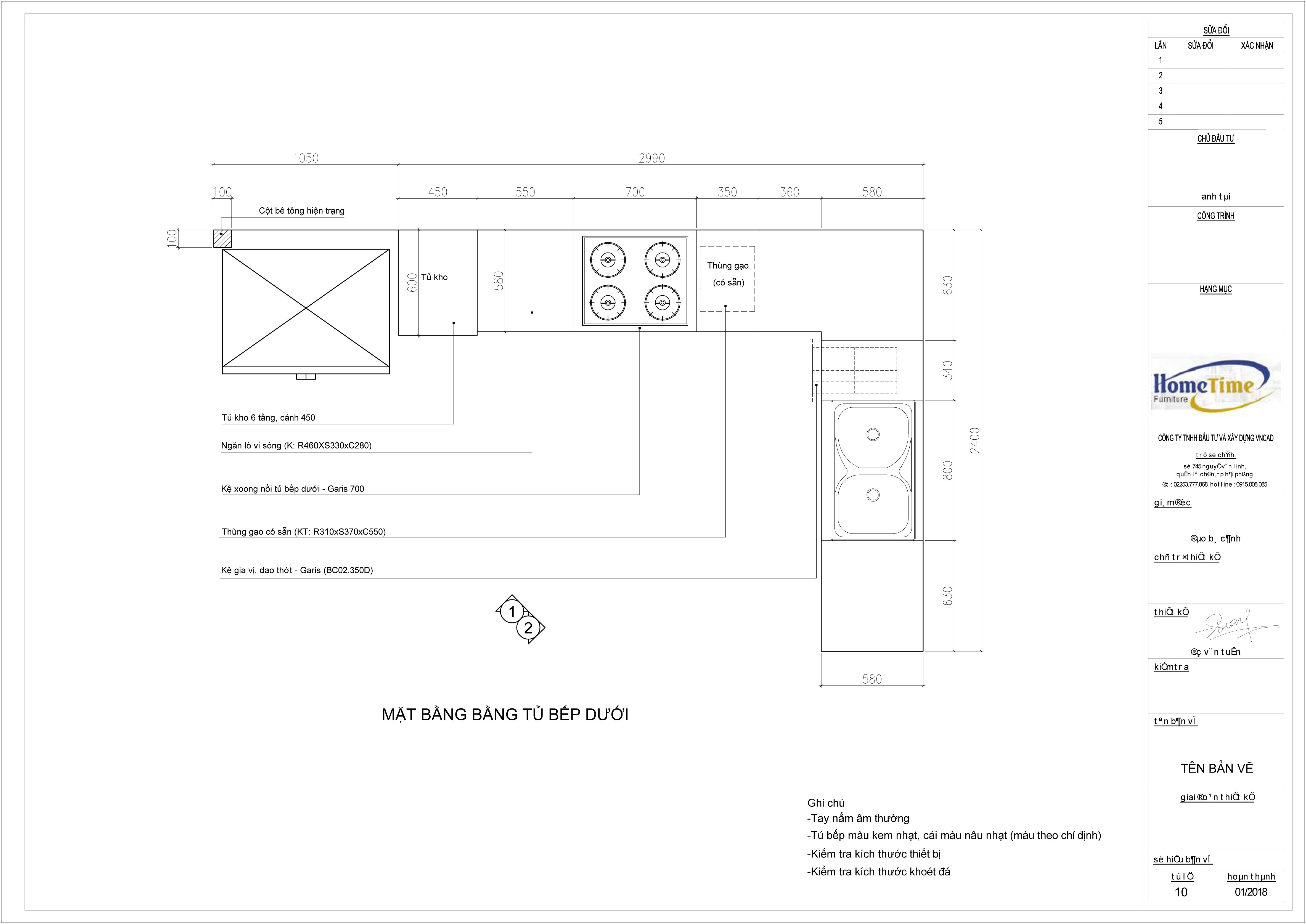 Bản vẽ 2D tủ bếp nhà anh công Hải Phòng